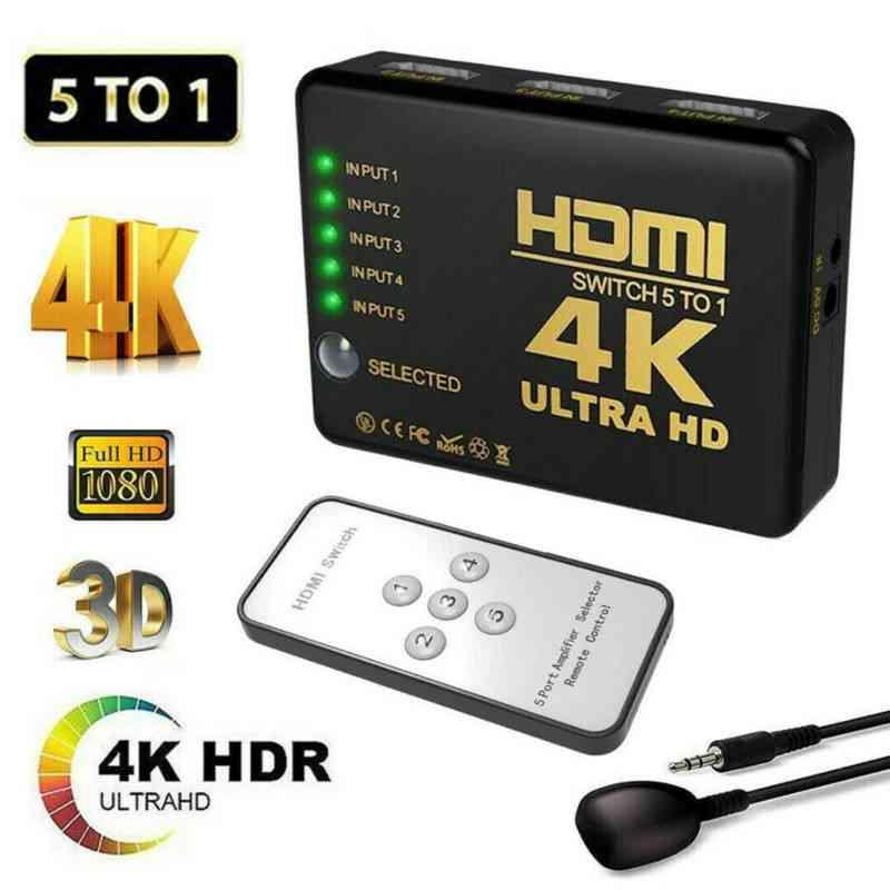 HDMI Splitter Switch Adapter 4K Ultra HD 3D HDR IR 1