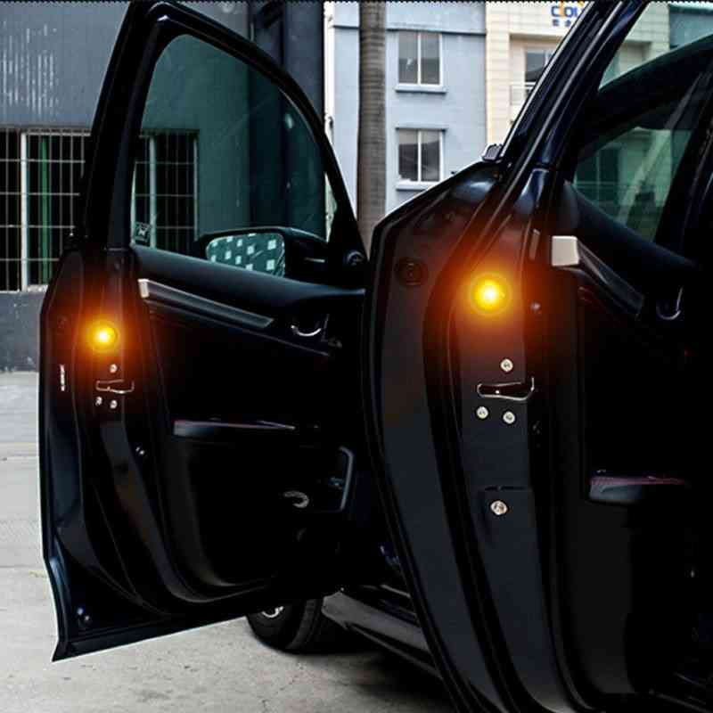 2 PCS Car Door Warning Light 5 LED Wireless Safety Anti collision Alarm Lamp