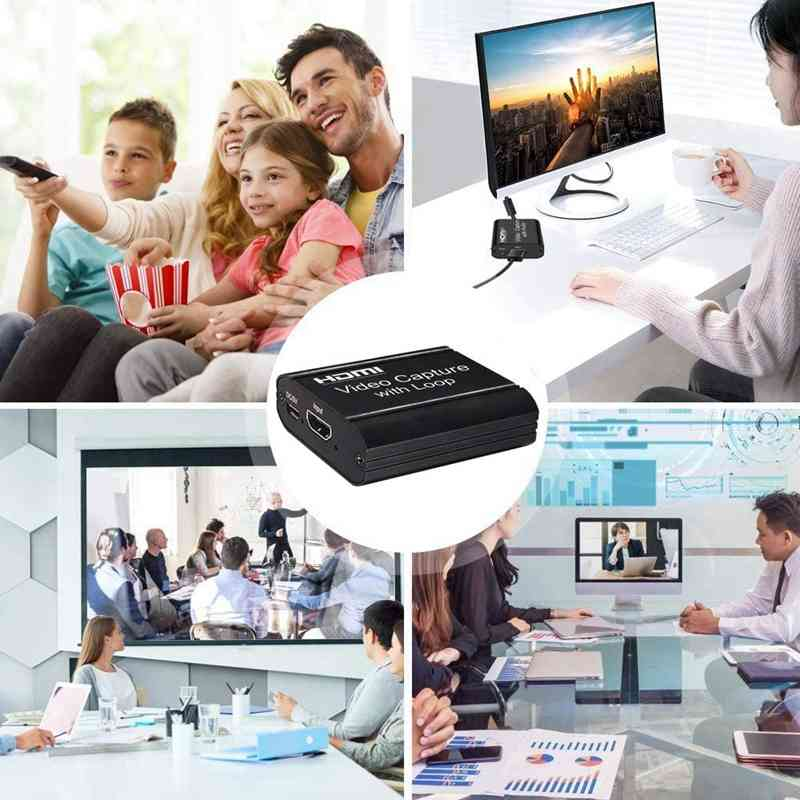 HDMI Video Capture Card TV Loop 1080P Game Recording Plate Live Streaming Box 3
